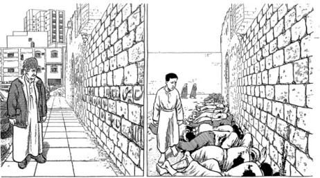 Two panels from Joe Sacco's Footnotes in Gaza (2009)