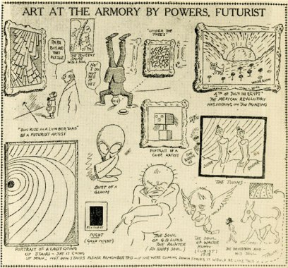 Cartoon commentary on the Armory Show, c. 1913